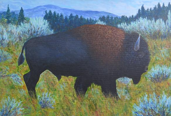 Bison im Yellowstone / 100 x 70 / Acryl