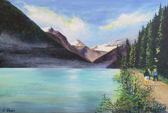 Rocky Mountains Lake Louise / 80 x 60 / Acryl / 590,00€