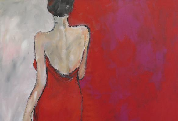 Lady in Red / 100 x 90 / Acryl